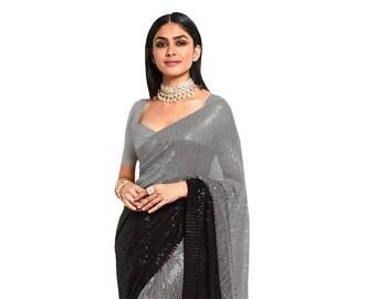 Combo Saree with Stitched Readymade Designer Blouse Sequined Saree Floral Sari For Bridal Bridesmaid Wedding Festive Wear Designer Saree Top