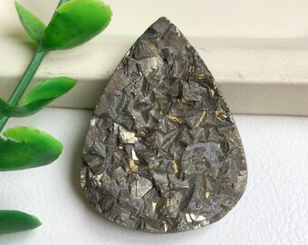 33X21 mm Pyrite Druzy Natural Gemstone Pyrite Oval Shape Flat Bottom Jewelry Making Pyrite Gemstone Loose Gemstone Druzy Gemstone