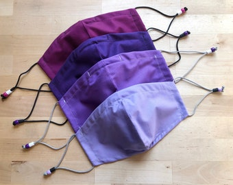 Purple Masks, Solid Color Masks, Plum Mask, Mulberry Mask, Lilac Mask, Lavender Mask, Mask with noes wire, Fitted face mask, Adult face mask