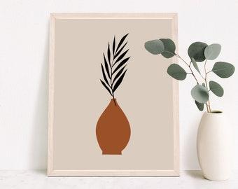 Palm Leaf Vase Plants In Vase Botanical Art,Minimalist Plant Art Printable Botanical Poster