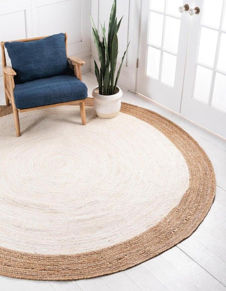 8x8 Ft 7x7 jute area rugs 6x6 Handmade area rug natural round rug 4x4 5x5 round rug bedside round jute rug jaipurweavergroup
