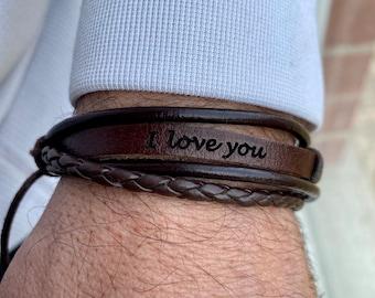 Personalized Leather Bracelet For Men Custom Bracelets Man Husband Gift Bracelet