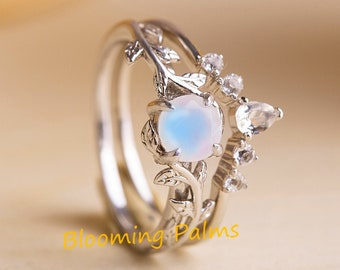 2 pcs engagement ring set for woman, White gold wedding ring set, Round cut stack bridal promise rings, Moonstone branch leaf ring set woman