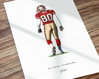 Jerry Rice San Francisco 49ers Football Illustrated Art Poster Print, Jerry Rice Poster, Gift for 49ers fans