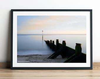 Dovercourt Bay Beach Huts at Sunset Canvas Print Harwich Beach Canvas Photography Print Seaside Canvas Art Beach Hut Wall Art