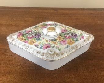 Porcelain jewelry box Tilso porcelain Porcelain covered box Vanity box Vintage Tilso Japan porcelain floral trinket box with lid