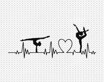 Dance Heartbeat SVG - SVG, Dxf, Eps, jpeg, png, Ai, pdf, Cut File - Gymnast Heartbeat Svg - Dancer Svg - Gymnast Svg for Cricut, Gymnast Svg