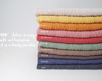 """NEW Embossing Sweater Knit """"BONO"""" fabric by the yard, Various color options, Soft hand feel with Medium to heavy weight"""