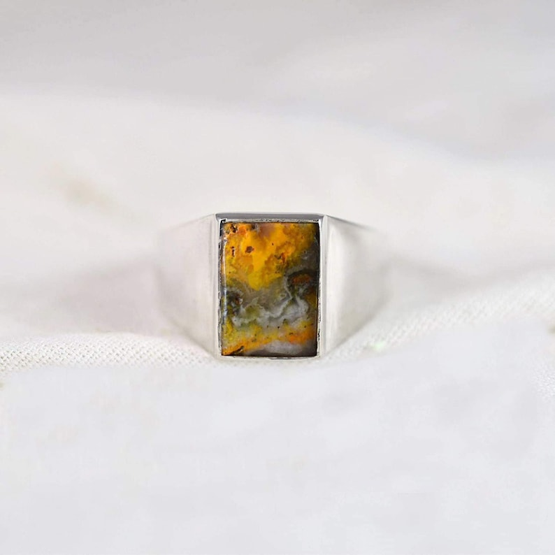 Natural Man/'s, Rectangle cab 925 Sterling silver ring Cocktail ring Bumble Bee Jasper gemstone ring Handmade Fashionable Statement
