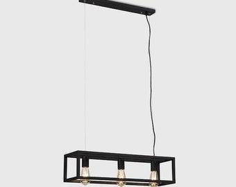 3 Way Modern Caged Pendant Ceiling Light Black - Home Decor UK