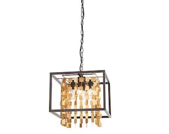 Black box frames hanging matt gold jewellery-style geometric squares for gorgeous light diffusion.- Home Decor UK