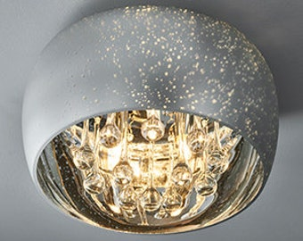 Electro Plated Glass Ceiling Light With Striking Clear Glass Droppers