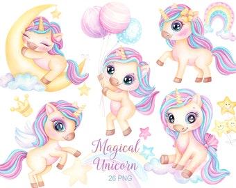 Unicorn Clipart, Rainbow Clip Art, Unicorn Watercolor, Magical Unicorn, Cute Unicorn, Nursery Decor baby girl princess, Instant download PNG