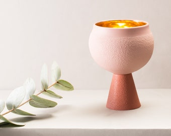 Porcelain Kiddush cup in Terracotta and blush