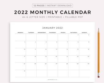 2022 Monthly Calendar Landscape, Printable Calendar Template, Minimalist Calendar, Year Calendar, Monday/Sunday Start, A4/Letter