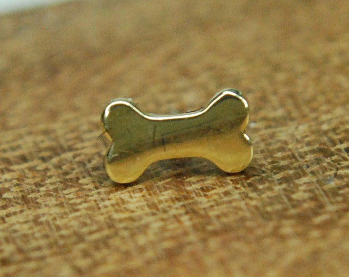 Junipurr 14k Yellow Gold Dog Bone Threadless End - Body Jewellery, Body Piercing