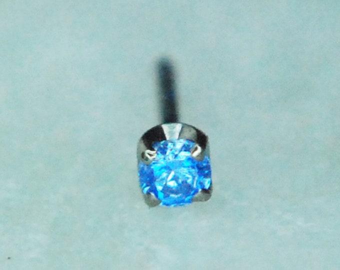 Neometal  Threadless Arctic Blue CZ Ends - 1.5mm Prong Set - Implant Grade Titanium