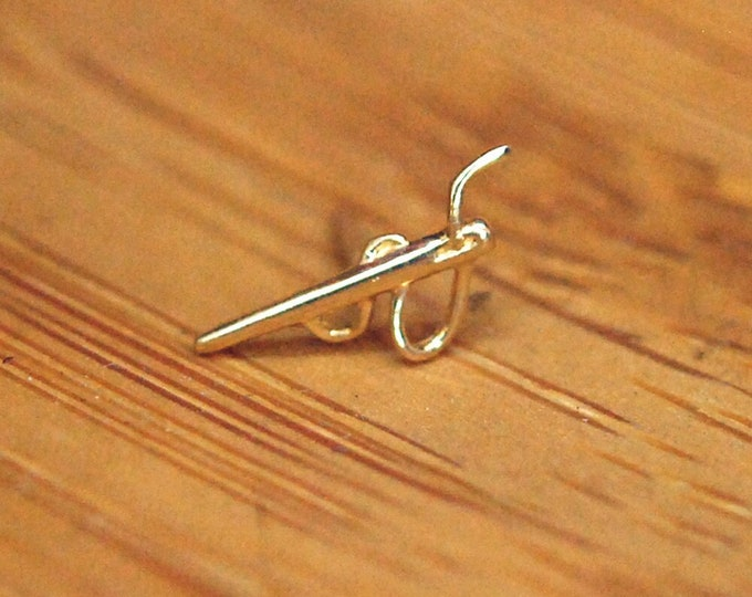 JUNIPURR Solid 14k Yellow Gold Needle and Thread Threadless End