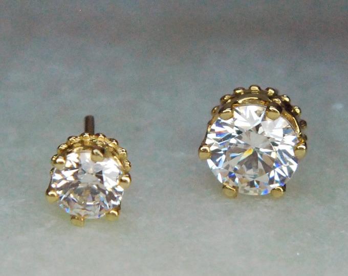 Junipurr 14k Yellow Gold Crown Set CZ Gems - Threadless End - Mulitple Sizes - Cubic Zirconia Crystal