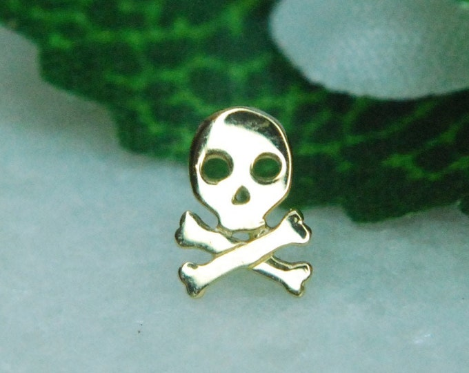 JUNIPURR Solid 14k Gold Skull Crossbone Threadless End