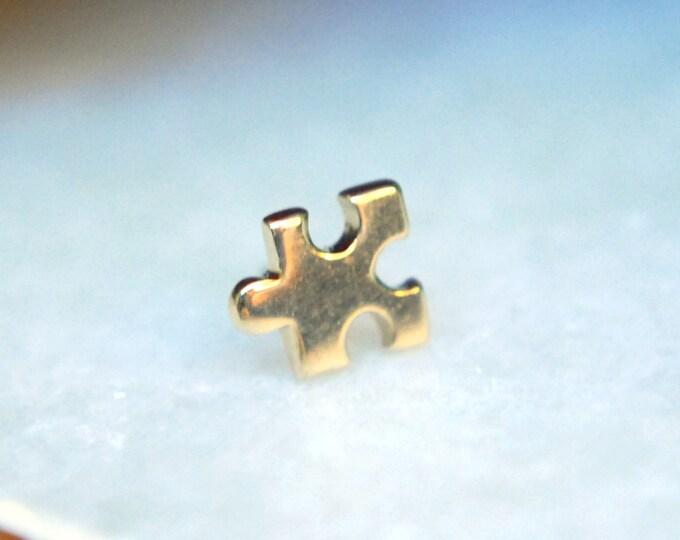 JUNIPURR 14k Yellow Gold Puzzle Piece Threadless End