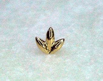 "Junipurr 14k Gold ""Dr Bloom"" Threadless End, Floral, Leaves, triple, decorative - Yellow, White, Rose"