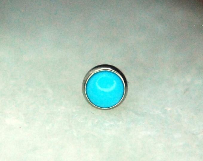 Neometal  Threadless Turquoise Ends - 3mm Cabochon - Implant Grade Titanium