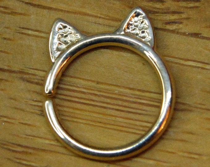 """Solid 14 Karat Yellow Gold """"Meow"""" Hammered Cat  Ears Ring BODY GEMS"""