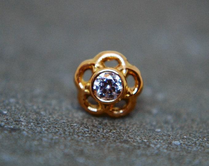 Anatometal 18k Rose Gold Threadless Tama End - 2mm Cubic Zirconia