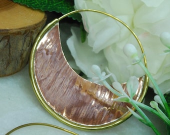 Copper and Brass Earrings - Hoop, ear weights, decorative PAIR