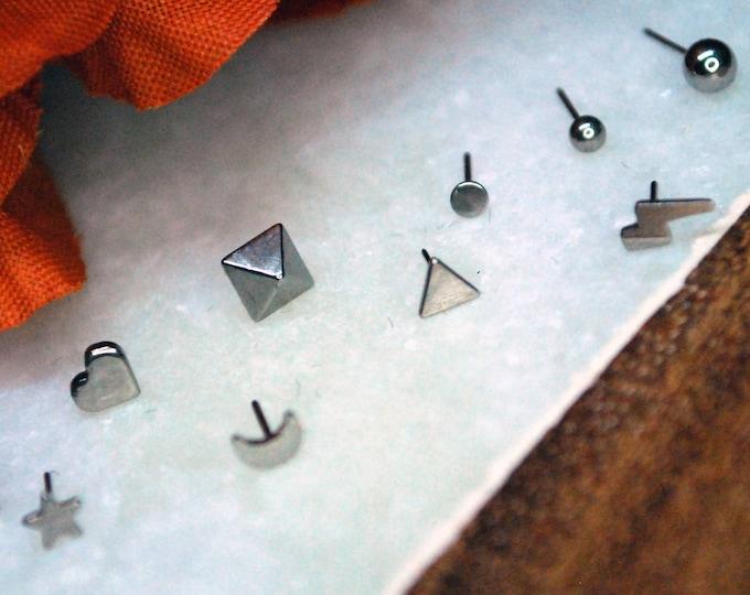 Titanium Threadless Ends - Moon, Star, Heart, Ball, Disc, Triangle, Lightning Bolt, Cross