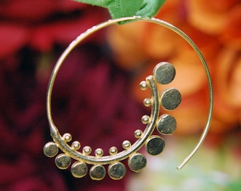 Brass Fern Spiral Earrings - Hoop, decorative PAIR