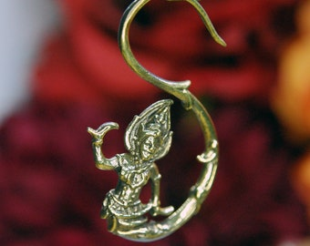 Antiqued Brass Ear Weights - Devi Saraswati Goddess Design, decorative PAIR