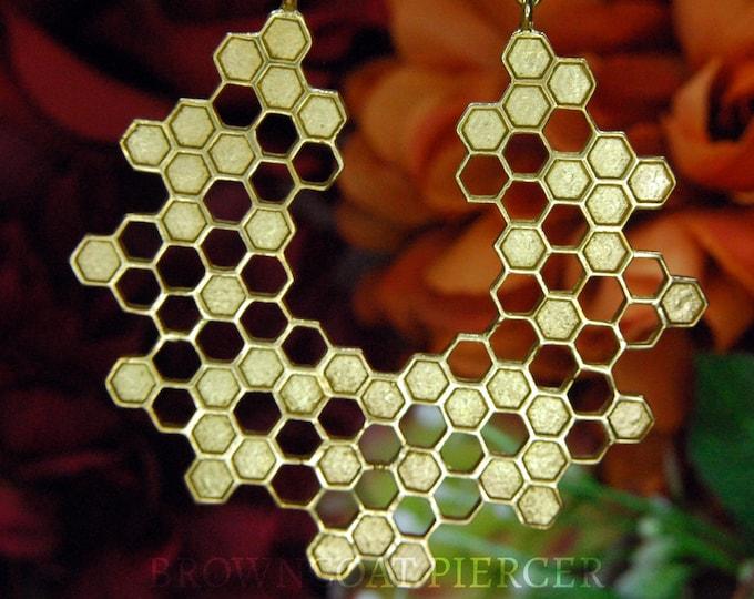 Brass Hexagon Honeycomb Earrings - Hoop, decorative PAIR