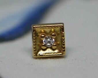 Leroi 14k Yellow Gold Diamond Millgrain End