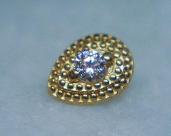 Body Gems 14k Yellow Gold Jeweled Pear Milgrain