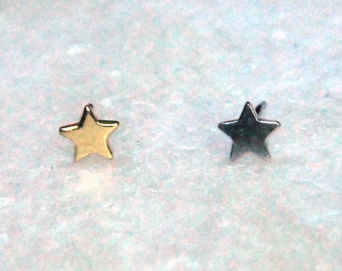 Tish Lyon 14kt Gold Star Threadless End - Yellow & White