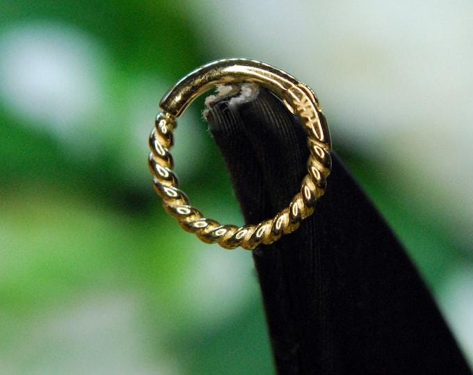 Tish Lyon 14kt Yellow Gold Rope Hinge / Clicker Ring