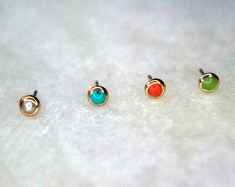 Solid 14kt Yellow Gold Body Gems Super Flat Threadless End- Bezel Set Natural Stones - Push Fit -Jade, Coral, Turquoise Pearl