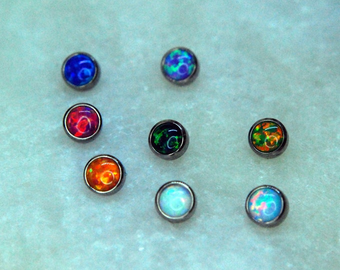 Internally Threaded Implant Grade Titanium Opal Cabochon Bezel Set Ends 16g / 1.2mm