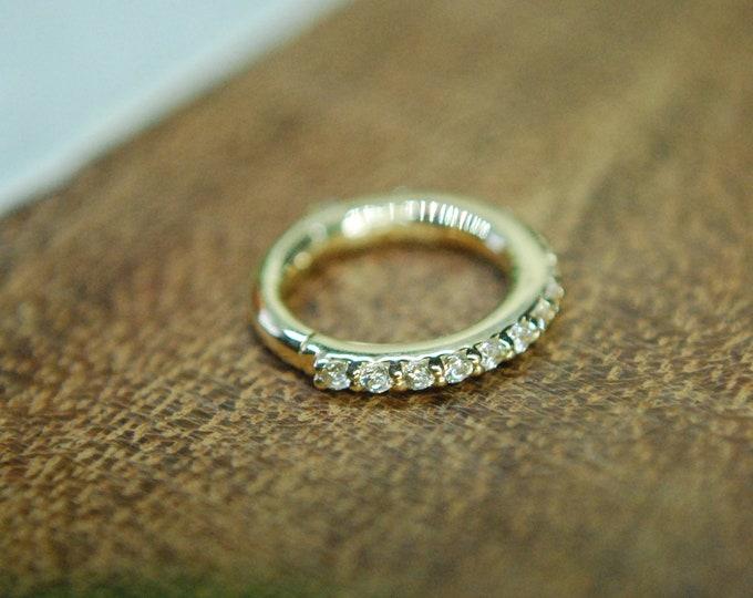 Tish Lyon 14k Yellow Gold Eternity Pavé CZ Gem Hinge / Clicker Ring