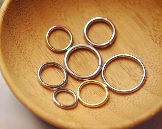Hinged Segment Ring / Clicker - Titanium Hoops - Septum, Daith, Earring, Helix, Nostril, Etc.