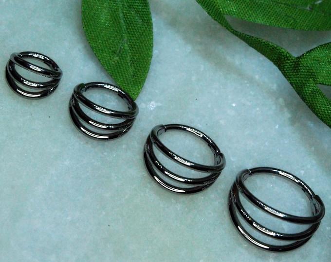 Titanium Triple Band Hinged Clicker Ring