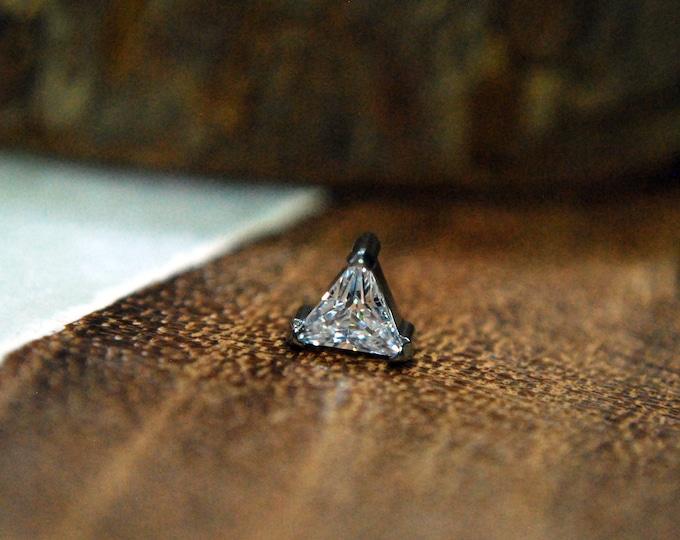 Titanium Internally Threaded Triangle Crystal CZ Gem End  -- 16ga / 1.2mm
