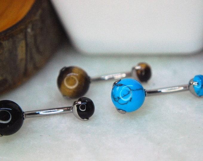 Titanium Prong Set Double Gem Navel Bar Natural Stones - Belly Bar - Onyx, Tigers Eye, & Turquoise