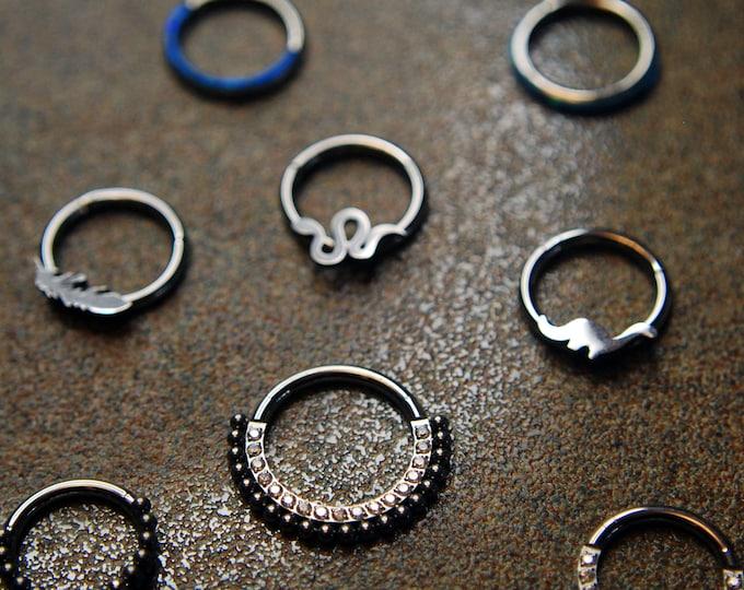 Titanium Hinged Segment Rings - Clickers - Daith, Septum Helix, Nostril, earlobe, Etc.