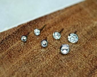 Titanium Threadless Crystal Cubic Zirconia Gem Ends Bezel or Prong Set