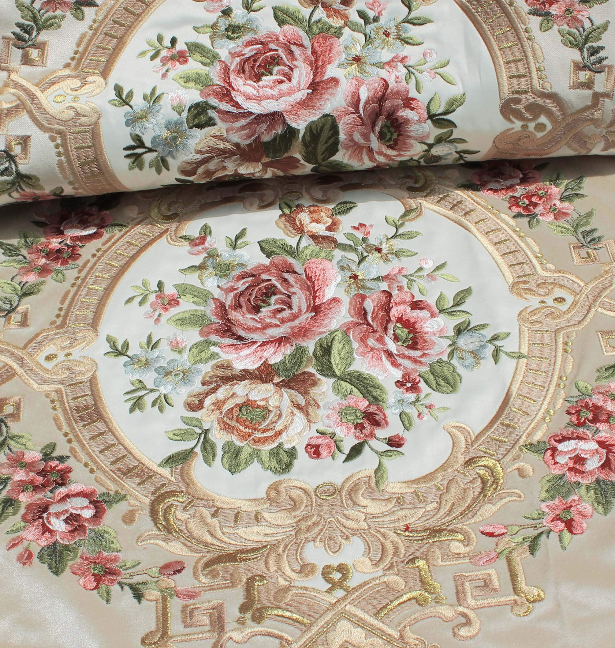 Velvet Embroidery Home Decor Fabric, Aubusson Rose Bouquet with Baroque Style Border for Curtain, Sofa, Chair, Cushion-Beige, 145cm width