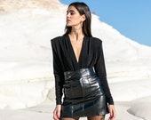 Shoulder Pad Bodysuit, Black Bodysuit, Glitter Bodysuit, Long Sleeve Bodysuit