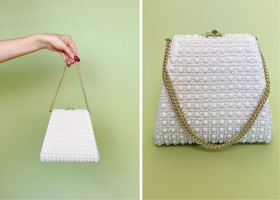 1960's Pearl Mini Bag with Gold Chain